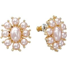 LC Lauren Conrad Gold Tone Simulated Pearl Button Stud Earrings ($9.10) ❤ liked on Polyvore