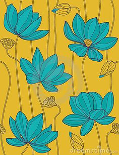 Lotus - Seamless Vector Pattern Stock Image - Image: 11174071