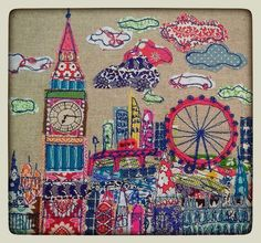London calling By lucy levenson designs Freehand Machine Embroidery, Free Motion Embroidery, Machine Embroidery Applique, Applique Quilts, Embroidery Patterns, Quilt Patterns, Fabric Art, Fabric Crafts, Stitch Pictures