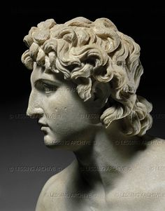 Eufranor. Roman marble bust of Alexander the great (336-323 BCE), copied from a greek statue by Eufranor; 338 BCE.