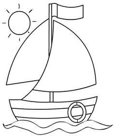 A cute sailboat for hand embroidery Drawing Lessons For Kids, Easy Drawings For Kids, Cute Drawings, Art For Kids, Easy Coloring Pages, Coloring Sheets, Coloring Pages For Kids, Coloring Books, Applique Patterns