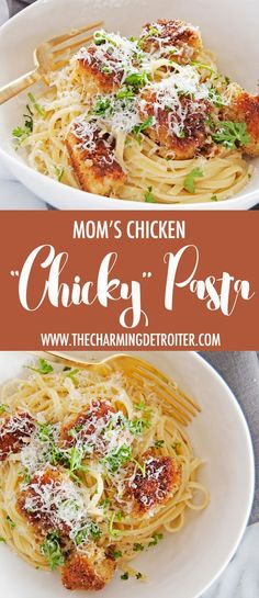 """My mom's famous chicken """"chicky"""" pasta recipe is an oldie but goodie, with panko crusted chicken, linguine, and a beautiful white wine butter sauce."""