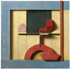 Kurt Schwitters (German, 1887-1948), Merz 1925, 1. Relief in the Blue Square, 1925. Assemblage and oil on panel, 49.5 x 50.2 cm. Les Illusions perdues