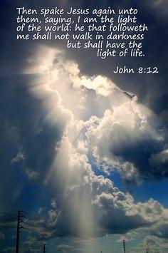 John 8:12 with Sunrays Through Clouds, print, framed print, canvas print, tin print, acrylic print, wall art, wall decor, art, picture, photography, Christian art, Scripture art, Greeting cards
