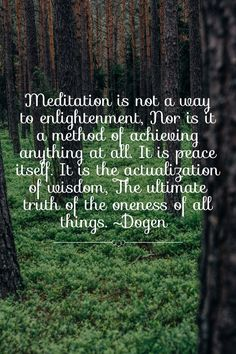 Meditation is not a way to enlightenment, Nor is it a method of achieving anything at all. It is peace itself. It is the actualization of wisdom, The ultimate truth of the oneness of all things.~Dogen