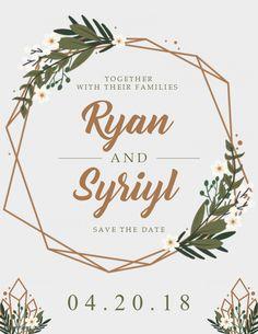 Modern save the date wedding invitation card template.