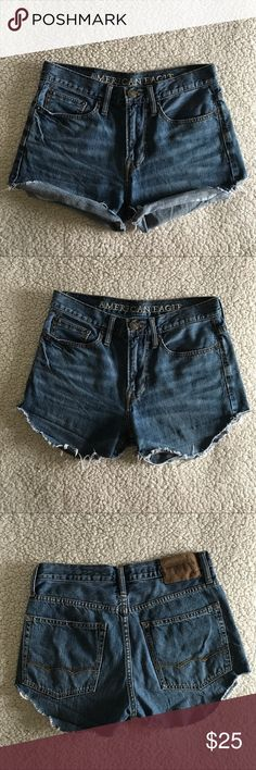 "• AEO Cutoffs • High waisted, hand-cut AEO denim shorts. These were a pair of men's jeans, size 28"" waist, which I cut for women's high waisted shorts. Normal wear, very broken-in feel. Super cute for summer days! American Eagle Outfitters Shorts Jean Shorts"