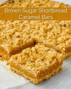 Simple brown sugar shortbread crumble filled with a soft caramel center. Brown Sugar Shortbread Caramel Squares - Simple brown sugar shortbread crumble filled with a chewy caramel center. Simple but oh so delicious. Caramel Shortbread, Caramel Bars, Shortbread Bars, Cookie Desserts, Just Desserts, Cookie Recipes, Health Desserts, Rock Recipes, Sweet Recipes