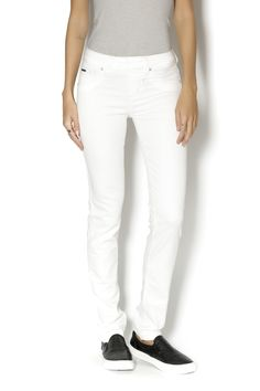 Dove white pull on denim with light contrast stitching and the perfect narrow leg. White Beija Flor Denim by Beija Flor. Clothing - Bottoms - Jeans & Denim Canada