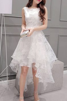 A chicloth women's elegant solid sleeveless high low organza dress mez Elegant Dresses, Cute Dresses, Beautiful Dresses, Casual Dresses, Formal Dresses, Teen Dresses, Midi Dresses, Organza Dress, Lace Dress