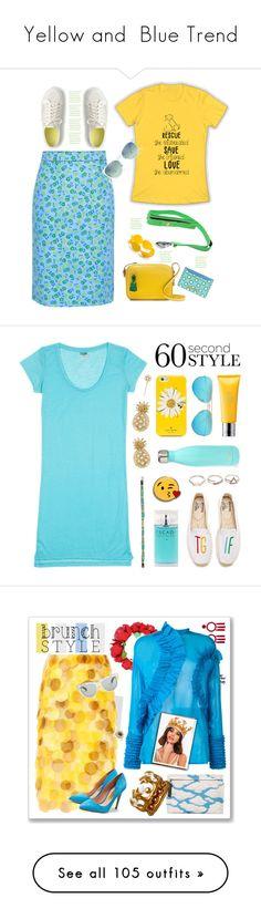 """Yellow and  Blue Trend"" by yours-styling-best-friend ❤ liked on Polyvore featuring Prada, Tretorn, Miu Miu, Kim Rogers, J.Crew, Ruffwear, polyvorecommunity, polyvoreeditorial, slogantshirts and Banana Split"
