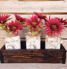 White antiqued jars in a Jacobean stained box$39.99
