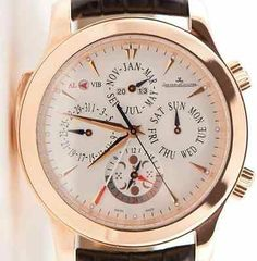 The perfect watch for the perfect man - now at a 42% discount >  JAEGER-LECOULTRE Grand Reveil Alarm Perpetual Moon Rose Gold Men's Watch.  #luxurywatches