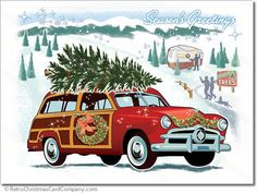 Woodie Wagon Christmas Cards Vintage by RetroChristmasCards
