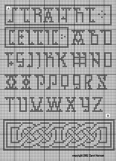 Medieval, Renaissance, and Heraldic Patterns for Needlework, with Many Charted from Original Embroidery Pieces of the Period. Newly revised and expanded. Celtic Cross Stitch, Cross Stitch Letters, Cross Stitch Boards, Mini Cross Stitch, Celtic Patterns, Celtic Designs, Cross Stitching, Cross Stitch Embroidery, Celtic Alphabet