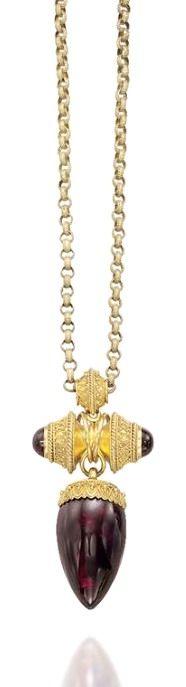 Almandine garnet pendant in the archeologic revival style - Century Moonstone Jewelry, Pendant Jewelry, Gemstone Jewelry, Victorian Jewelry, Antique Jewelry, Vintage Jewelry, Byzantine Jewelry, Ancient Jewelry, I Love Jewelry