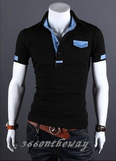 afddbeb7070 Mens Stylish Casual Slim Fit Short Sleeve Polo Shirt T-shirts Tee Shirt  E651