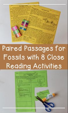 Science Reading Comprehension Passages about Fossils - Great close reading activities too!