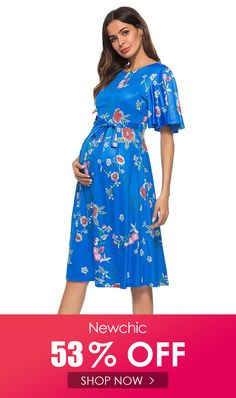 I found this amazing Blue Floral Printed O-Neck Flare Sleeve Knee Length Maternity Dress with 14 days return or refund guarantee protect to us. Cheap Maternity Clothes, Maternity Dresses, Flare, Shop Now, Floral Prints, Cold Shoulder Dress, Printed, Amazing, Sleeves