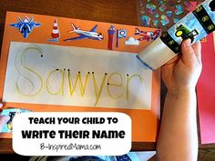 Make a rainbow name sign to teach preschool kids how to write their name.  Great for getting ready for Kindergarten and school! B-InspiredMama.com