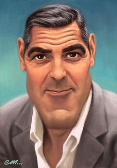 George Clooney in Caricature. Can you imagine how will your face look in caricature? George Clooney, Cartoon Faces, Funny Faces, Cartoon Art, Funny Caricatures, Celebrity Caricatures, Face Illustration, Illustrations, Caricature Drawing