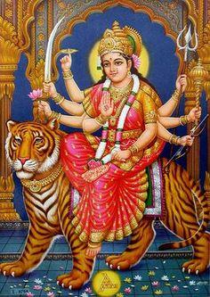 Image of Durga on Her Tiger, India Photographic Print by Paul Beinssen Maa Durga Photo, Durga Kali, Shri Ganesh, Durga Goddess, Krishna, Chaitra Navratri, Navratri Images, Navratri Wishes, Durga Images