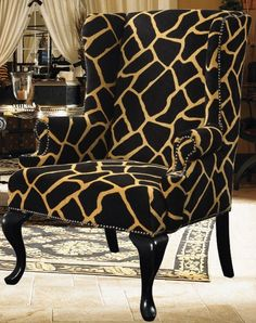 New Classic Giraffe Animal Print Wing Chair Accent Furniture Safari Armchair  #Traditional_home #Safari #safari_nursery #British_Colonial #Modern_wingback #wingback_chair #exotic #architectural_digest