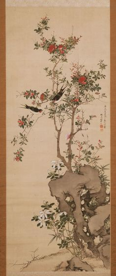 Yamamoto Baiitsu's swallows on red rose bush by a rock with star magnolia and peonies and small bamboo tree tucked behind the rock at Joan B Mirviss LTD, New York, late 18th to early 19th c., hanging scroll, ink and color on silk.