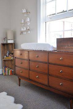 Mid-Century Dresser Changing Table - Nursery Ideas