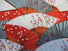 Hanami Falls Fans Flowers Red Gray White Asian Wilmington Fabric Yard #Wilmington