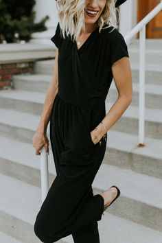 Black Elastic Waist Jumpsuit with Pockets | ROOLEE