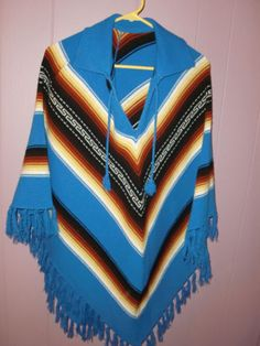 Vintage Southwestern Aztec Blue Western Cowgirl Women's Cape Poncho One Size | eBay