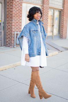 White shirt dress, Denim Cape, Denim Jacket, OTK boots, Indianapolis Style Blog, Fall Outfit Idea