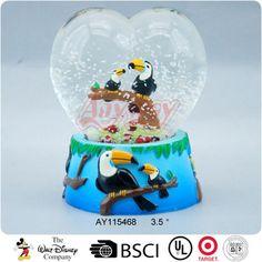 Parrot figurine heart shape water snow globe of zoo souvenir