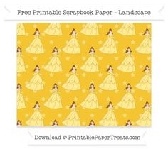 Free Landscape Saffron Yellow Star Large Belle Pattern Paper - Beauty and the Beast