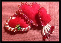 Felt beaded hearts for valentines day.