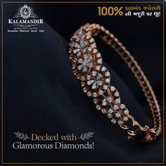 Add the Glamour of Diamonds to your occasions. Get OFF* on our Diamond Collection only at Kalamandir showroom. Visit our nearest showroom today! *Discount available on Making charges only. Platinum Jewelry, Rose Gold Jewelry, Crystal Jewelry, Bridal Jewelry, Diamond Jewelry, Gold Bangles Design, Silver Bangles, Jewelry Design, Diamond Necklace Set