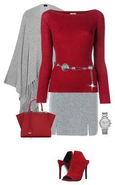 """""""Fall Red and Gray"""" by terry-tlc ❤ liked on Polyvore featuring Joseph, D.Exterior, Fendi, Nude, Versace, Steve Madden and Michael Kors"""