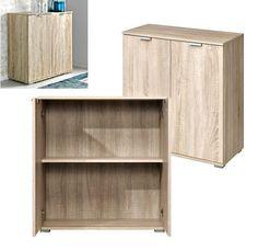 Office Cabinet Storage Cupboard Wooden Organize 2 Shelf Stand Home Furniture Oak #Unbranded