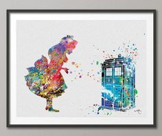 Alice and Tardis Dr Who Alice in Wonderland Watercolor Print Archival Fine Art Print Wall Decor Art Home Decor Wall Hanging No 160 on Etsy, $15.00