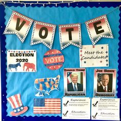 "Set up your own Presidential Election 2020 Bulletin Board. There are 23 pages of colorful and black/white PDF pages. You can ""meet the candidates"" and learn about their education and experience (qualifications), remind students of election day in a graphic, see political parties and images of the candidates, look at US political maps, and use some swanky clip art provided by @Paula Kim Studio"