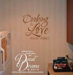 Great idea for the apartment kitchen!!!The Cool thing about this site is you can customize it for your house. Make it bigger or SMALLER.  COOKING is Love made visible quote by DecalDrama, $17.00