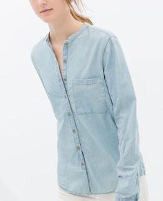 MAO COLLAR DENIM SHIRT from Zara