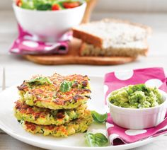 Chicken and courgette fritters with avo dip