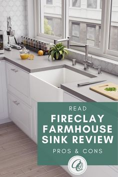 Learn more about Pros, Cons Fireclay Farmhouse Sink, Farmhouse Sink Kitchen, Kitchen On A Budget, Kitchen Ideas, Kitchen Countertops, Kitchen Island, Best Kitchen Sinks, Ceramic Sink, Modern Kitchen Design
