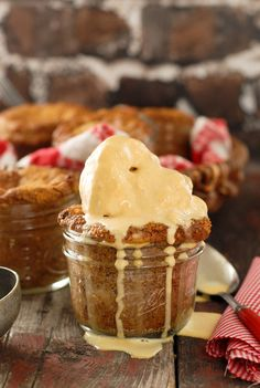 Little Apple Oat Cakes in Jars with Ice Cream {gluten-free}