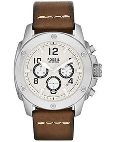 Fossil Men's Modern Machine Brown Leather Strap Watch 45mm FS4929 - Men's Watches - Jewelry & Watches - Macy's