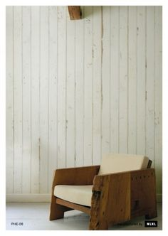 Wood effect wallpaper - beut.co.uk £195 for 9m roll. Gulp! Great way of adding texture and interest to an all white scheme.