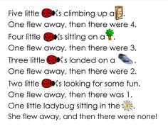 "Poem, ""Five Little Ladybugs"" & Egg Carton Craft"
