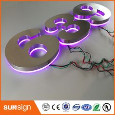 Custom Apartment LED Numbers and company name size purple led Light Letters, Metal Letters, Letters And Numbers, Backlit Signage, Led House Numbers, Channel Letter Signs, Electronic Signs, Commercial Signs, Acrylic Letters